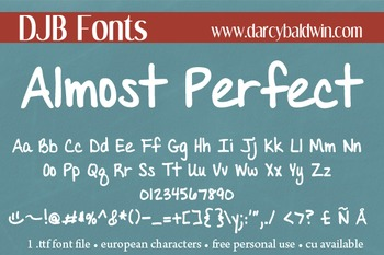 DJB Almost Perfect Font: Personal Use