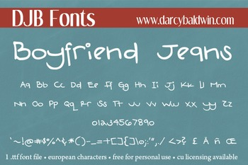 DJB Boyfriend Jeans Font - Personal Use