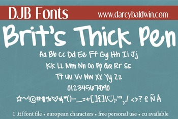 DJB Brit's Thick & Thin Pen Font - Personal Use
