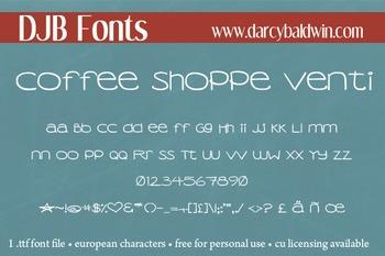DJB Coffee Shoppe Venti Font - Personal Use