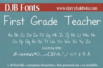 DJB First Grade Teacher Font - Personal Use