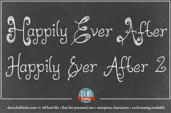 DJB Happily Ever After Fonts: Personal Use