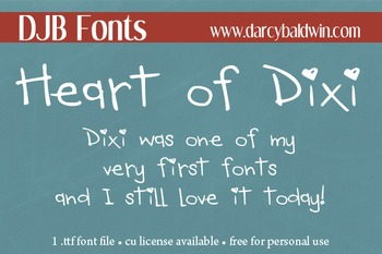 DJB Heart of Dixi Font - Personal Use