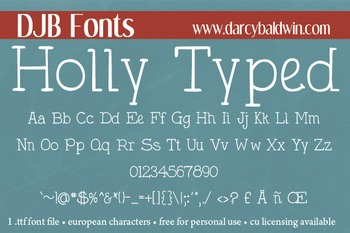 DJB Holly Typed Font - Personal Use