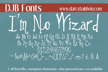 DJB I'm No Wizard Font - Personal Use