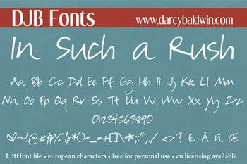 DJB In Such a Rush Font - Personal Use