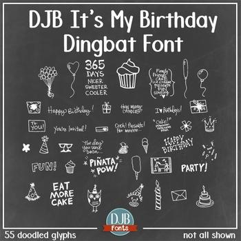 DJB It's My Birthday Dingbat Font - Personal Use
