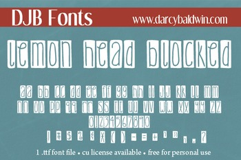 DJB Lemon Head Blocked Font - Personal Use
