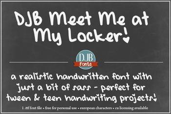 DJB Meet Me at My Locker Font - Personal Use