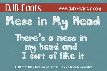 DJB Mess in My Head Font - Personal Use