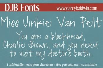 DJB Miss Jinkie Van Pelt Font: Personal Use