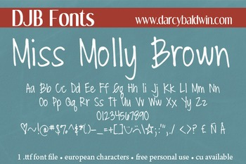 DJB Miss Molly Brown Font: Personal Use