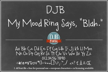 DJB My Mood Ring Says Blah Font - Personal Use