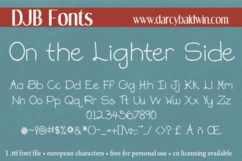 DJB On the Lighter Side Font - Personal Use