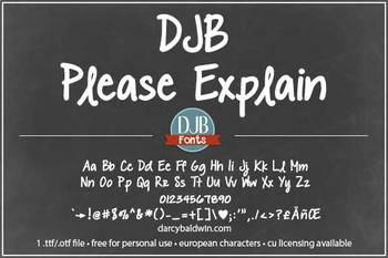 DJB Please Explain Font - Personal Use