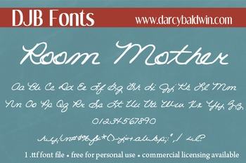DJB Room Mother Font: Personal Use