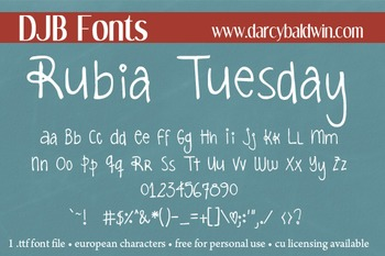 DJB Rubia Tuesday Font - Personal Use