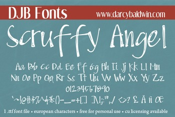 DJB Scruffy Angel Font - Personal Use