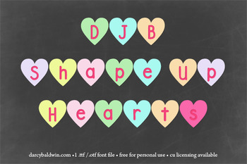 DJB Shape Up Hearts Font: Personal Use