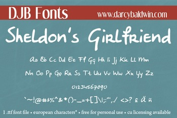 DJB Sheldon's Girlfriend Font - Personal Use