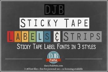 DJB Sticky Tape Label Fonts - Personal Use