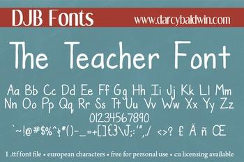 DJB The Teacher Font: Personal Use