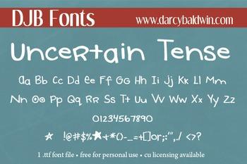 DJB Uncertain Tense Font - Personal Use
