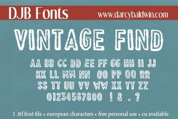 DJB Vintage Find Stamped Font- Personal Use
