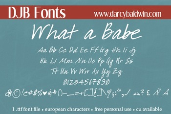DJB What a Babe Font - Personal Use