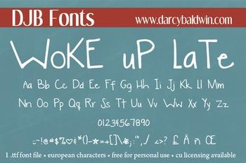 DJB Woke Up Late Font - Personal Use
