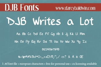 DJB Writes a Lot Font - Personal Use