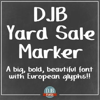DJB Yard Sale Marker Font: Personal Use