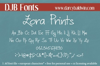 DJB Zora Prints Font - Personal Use
