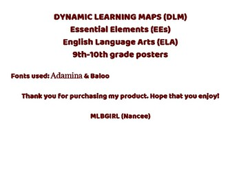 DLM Essential Elements ELA Posters 9th -10th grade