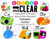 Alphabet Cards—Line and Word Wall Headers (Bright & Clear DN Cursive)