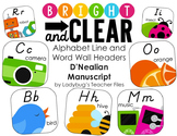 Alphabet Cards—Line and Word Wall Headers (Bright & Clear DN Manuscript)