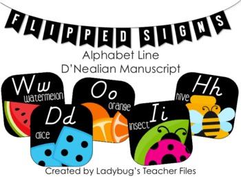 DN Manuscript Alphabet Line (Flipped Signs)