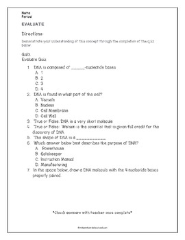 DNA 5E: 1 to 1 Editable Lesson