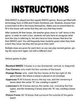DNA Biology BINGO! FREE!