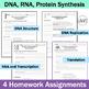 DNA (Deoxyribonucleic Acid), RNA, Protein Synthesis Homework Set of 4