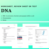 DNA Worksheet, Review Sheet or Test: Exploring Structure, Function & Purpose