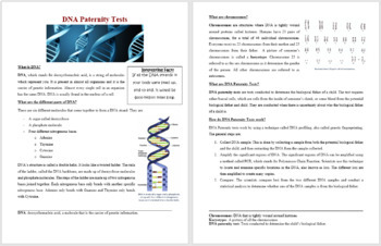 DNA Paternity Tests - Science Reading Article