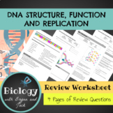 DNA  Structure, Function and Replication Review Worksheet