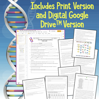 DNA, RNA, Protein Synthesis Worksheet / Study Guide by Amy Brown ...