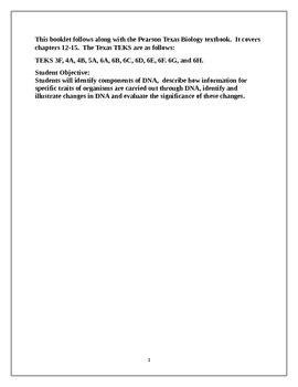 DNA, RNA, and Genetic Engineering Booklet