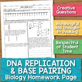 DNA Replication and Base Pairing Biology Homework Worksheet