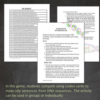 DNA Sequencing Game: Practicing Protein Synthesis