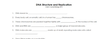 DNA Structure, Replication, and Protein Synthesis Set