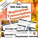 DNA Task Cards - Replication, Transcription & Translation (Borderless Printing)