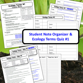 Ecology Terms ONE: Glossary of Terms, Quiz, & Word Wall Posters